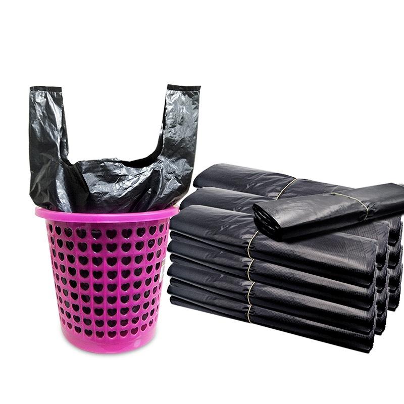 辦公室家用垃圾袋批發_大號加厚手提背心黑色垃圾袋